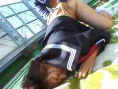 Chubby Misa Kashigawi pokeed outdoors